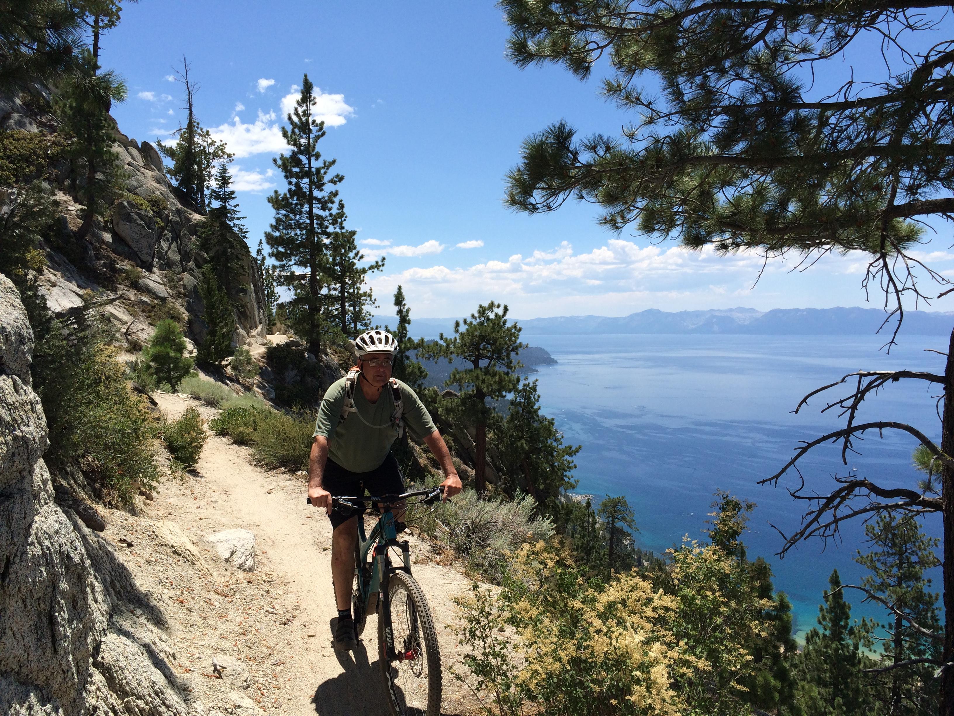 Jim riding the Flume Trail