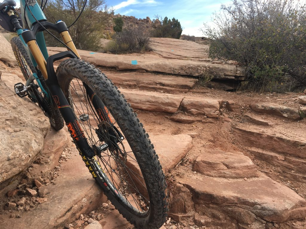 Testing the fork on Moab ledges. North 40 Trail.